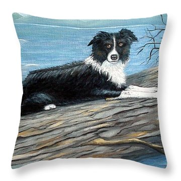 Throw Pillow featuring the painting Sammy Mcdonald by Fran Brooks