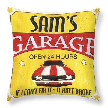 Sam's Garage Throw Pillow