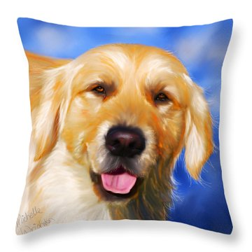 Happy Golden Retriever Painting Throw Pillow by Michelle Wrighton
