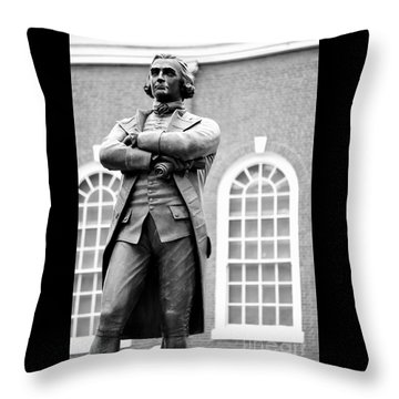 Samuel Adams Statue State House Boston Ma Black And White Throw Pillow