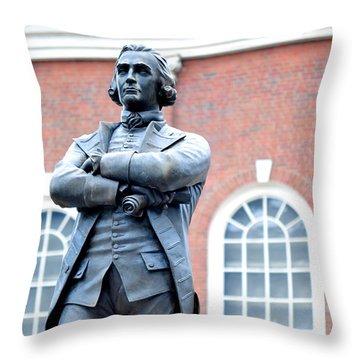 Samuel Adams Statue Massachusetts State House Throw Pillow