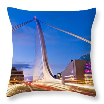 Throw Pillow featuring the photograph Samuel Beckett Bridge And National Conference Centre / Dublin by Barry O Carroll