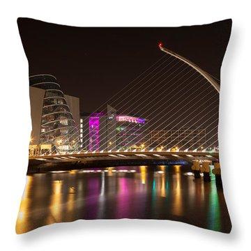 Samuel Beckett Bridge In Dublin City Throw Pillow