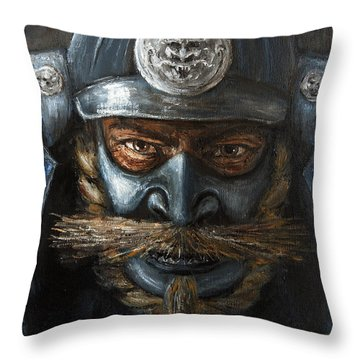 Samurai Throw Pillow by Arturas Slapsys
