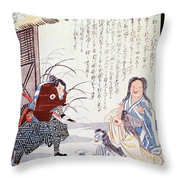 Samurai Cures Measles With Talismans Throw Pillow by Science Source