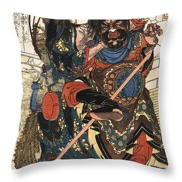 Samurai Mugging C. 1826 Throw Pillow