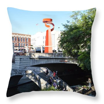 Throw Pillow featuring the painting San Antonio River 01 by Shawn Marlow