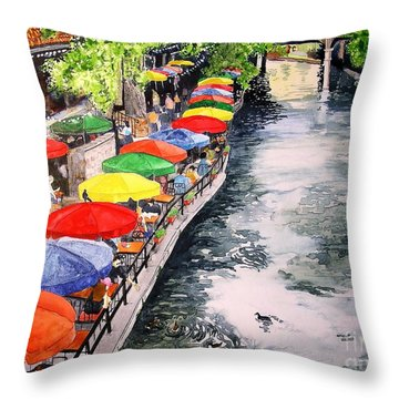 Throw Pillow featuring the painting San Antonio River Walk by Tom Riggs