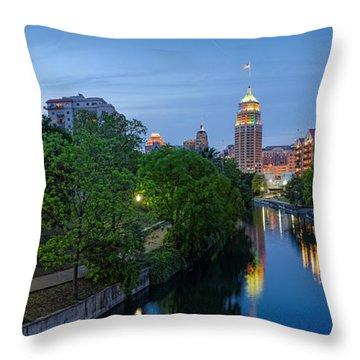 San Antonio Skyline Tower Life Building And Riverwalk From Cesar Chavez Boulevard - Texas Throw Pillow