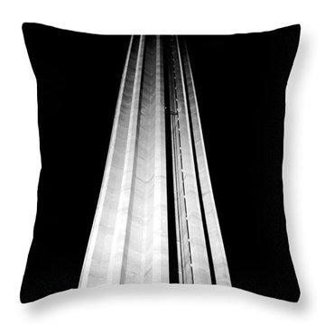 San Antonio Tower Of The Americas Hemisfair Park Space Needle Tower Restaurant Black And White Throw Pillow by Shawn O'Brien