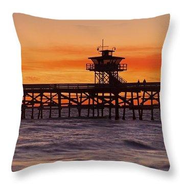 San Clemente Municipal Pier In Sunset Throw Pillow by Richard Cummins