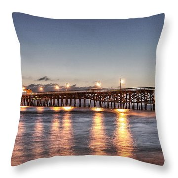 San Clemente Pier At Night Throw Pillow by Richard Cheski