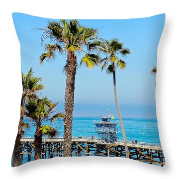 San Clemente Pier Throw Pillow by Suzanne Oesterling