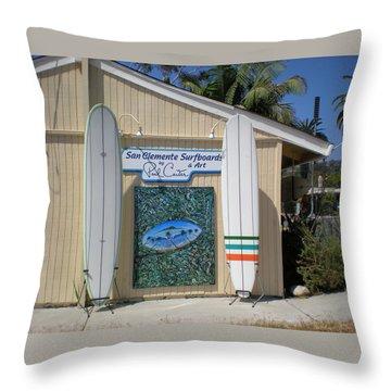 San Clemente Surfboards Throw Pillow