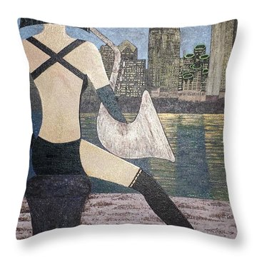 Throw Pillow featuring the painting San Diego California by Jasna Gopic