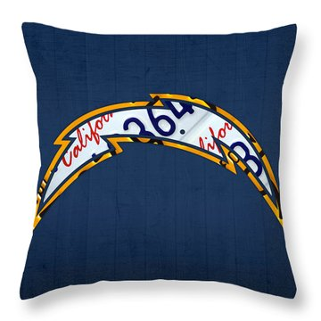 San Diego Chargers Football Team Retro Logo California License Plate Art Throw Pillow