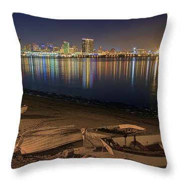 Throw Pillow featuring the photograph San Diego Harbor Lights by Gary Holmes