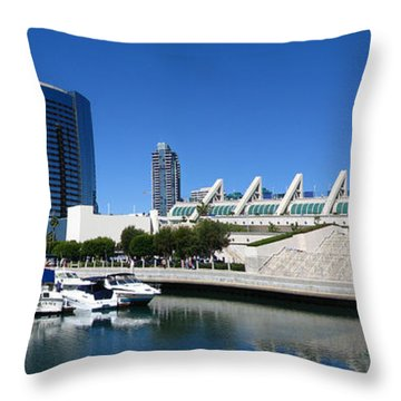 San Diego Panoramic View Throw Pillow by Bedros Awak