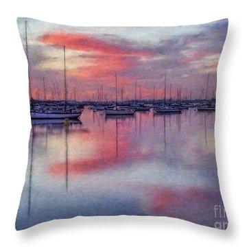 Throw Pillow featuring the digital art San Diego - Sailboats At Sunrise by Lianne Schneider