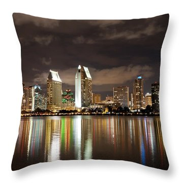 San Diego Skyline 1 Throw Pillow by Lee Kirchhevel