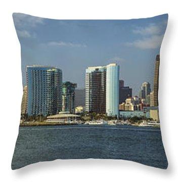 San Diego Skyline Daytime Panoramic Throw Pillow by Adam Romanowicz