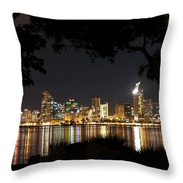 Throw Pillow featuring the photograph San Diego Skyline Framed 1 by Lee Kirchhevel