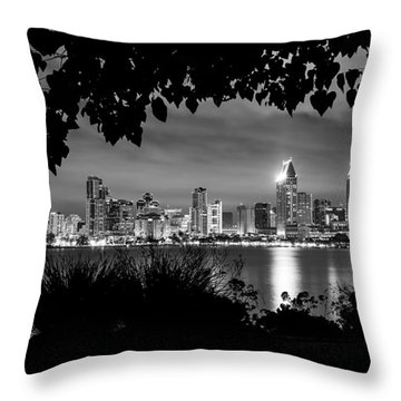 San Diego Skyline Framed 2 Black And White Throw Pillow by Lee Kirchhevel