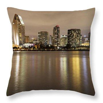 San Diego Skyline Panoramic 2 Throw Pillow