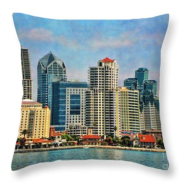 Throw Pillow featuring the photograph San Diego Skyline by Peggy Hughes