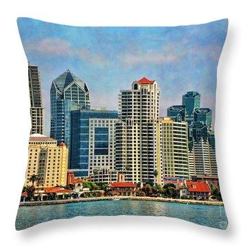 San Diego Skyline Throw Pillow by Peggy Hughes