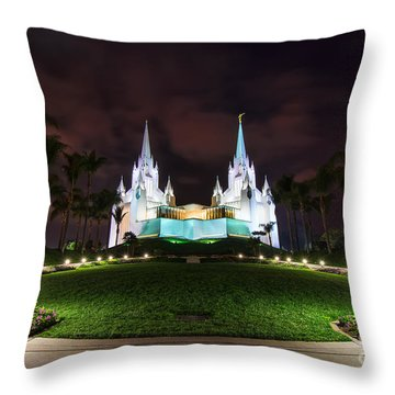 Throw Pillow featuring the photograph San Diego Temple by Eddie Yerkish