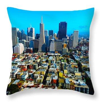 San Fran Colors Throw Pillow