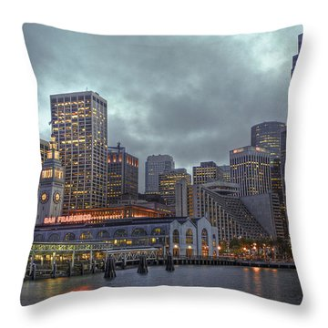 San Francisco Port All Lit Up Throw Pillow