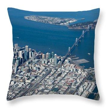 San Francisco Bay Bridge Aerial Photograph Throw Pillow by John Daly