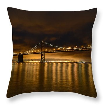 San Francisco - Bay Bridge At Night Throw Pillow
