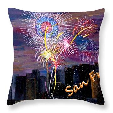 San Francisco Bay City Celebration Throw Pillow by Mark Moore