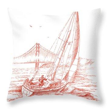 San Francisco Bay Sailing To Golden Gate Bridge Throw Pillow