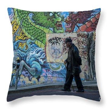 San Francisco Chinatown Street Art Throw Pillow by Juli Scalzi