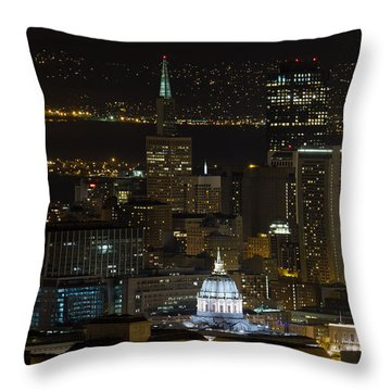 San Francisco Cityscape With City Hall At Night Throw Pillow by David Gn