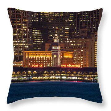 San Francisco Ferry Building At Night.  Throw Pillow