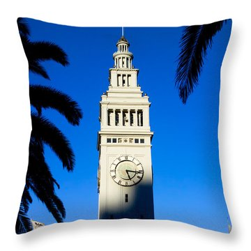 San Francisco Ferry Building Clock Tower Throw Pillow