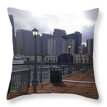 San Francisco From Pier Throw Pillow by Haleh Mahbod
