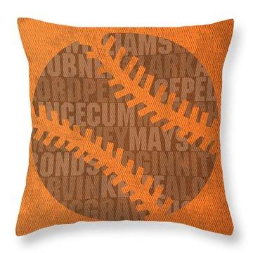 San Francisco Giants Baseball Typography Famous Player Names On Canvas Throw Pillow