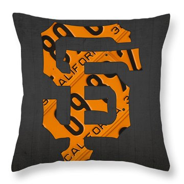 San Francisco Giants Baseball Vintage Logo License Plate Art Throw Pillow by Design Turnpike
