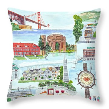 San Francisco Highlights Montage Throw Pillow