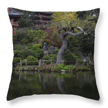 San Francisco Japanese Garden Throw Pillow by Mike Reid