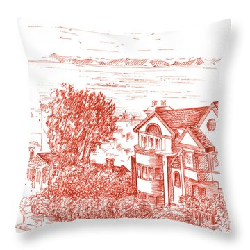 San Francisco Leavenworth Street Bay View Throw Pillow