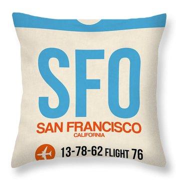 San Francisco Luggage Tag Poster 1 Throw Pillow