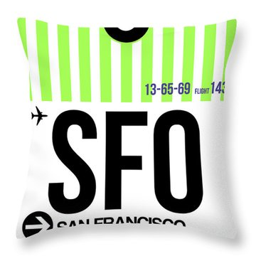 San Francisco Luggage Tag Poster 2 Throw Pillow