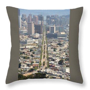 San Francisco - Market Street - Castro To Embarcadero Throw Pillow by Daniel Furon